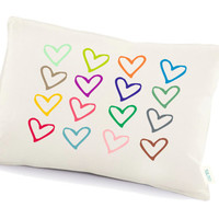 Love pillow, valentine's day decorative pillow , Hearts pillow, Anniversary gift, two year anniversary(D8)