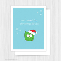 Cute Owl Christmas Card For Boyfriend Girlfriend Fun Funny Love Pun Handmade Greeting Cards Illustration Holiday Gifts Gift Ideas Her Him