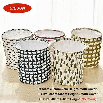 Super Large Wash Bag Foldable Cotton Linen Washing Laundry Basket Bag Hamper Storage Folded Dirty Clothing Bucket Storage UIE012