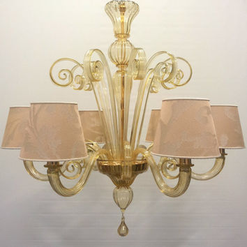 Authentic Italian Murano Amber Gold Hand Blown Glass Chandelier with Rubelli Fabric Lampshades - Made in Venice