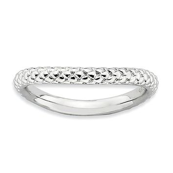 Sterling Silver Stackable Expressions Polished Rhodium-plate Wave Ring