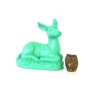 mint green deer statue, deer, woodland, home decor, animal statues, fawn
