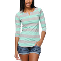 Zine Girls Heather Grey & Ice Green Rugby Stripe Henley Baseball Tee Shirt