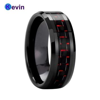 Black Wedding Band Women Mens Tungsten Ring With Black+Red Carbon Fiber Inlay