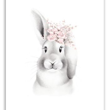 Bunny with Flowers Fluffy Face Print