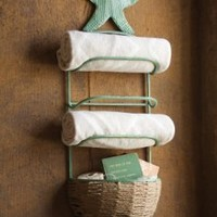 Starfish Towel Rack with Basket, Antique Blue, 37 x 12 x 7.5 in