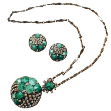 Art-deco Style Pendant and Clip-back Earrings Set with Green Marbled Acrylic & Faux Pearls