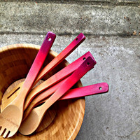 Ombre Wooden Spoons in pinky purples