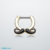 Golden Classic Mustache Septum Clicker