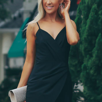 Pleated Tank Romper Black