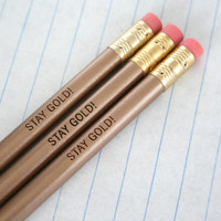 stay gold 3 gold engraved pencil set.