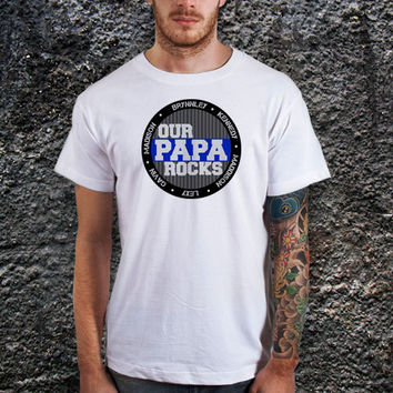 Customized Our Papa Rocks Personalized with Multiple Grandkid Names T-shirt. Birthday Gift. New Dad Shirt, Cotton, Various Color Available
