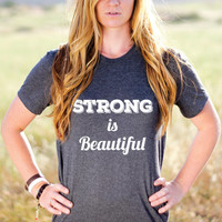Strong Is Beautiful - Strong Is Beautiful Crossfit - Strong Women - Strong Girl Clothing - Motivational Workout Tank - Fitness Motivation