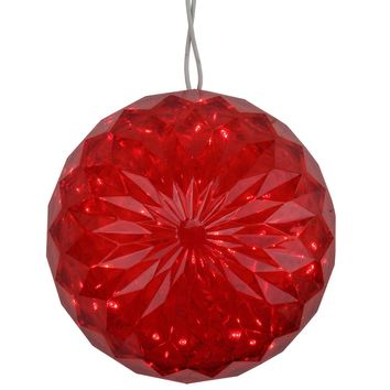 "6"" Red LED Lighted Hanging Christmas Crystal Sphere Ball Outdoor Decoration"
