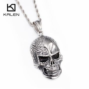 Huge Heavy Skull Pendant Necklace For Men High Polishing  Stainless Steel Skull Charm Long Chain Necklace
