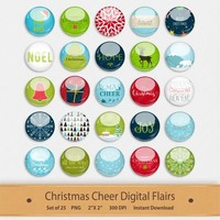 Christmas Cheer Digital Scrapbooking Flairs Elements Embellishments Buttons Printable Stickers Santa Reindeer Merry Christmas Clipart Badge