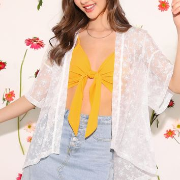Open Front Sheer Embroidery Mesh Kimono