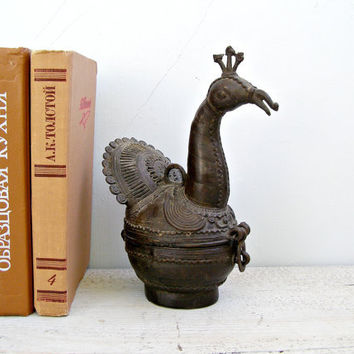 Antique Iron Peacock figurine, Metal Peacock sculpture, Folk art, Trinket box, Wildlife, collectible, Gift for man, Cottage chic, Loft Decor