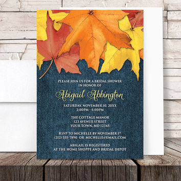 Autumn Leaves Denim Bridal Shower Invitations - Rustic Fall Country Blue - Printed Invitations