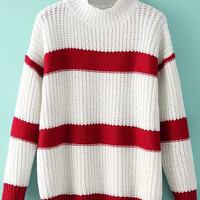 White Striped High Neck Knitted Sweater