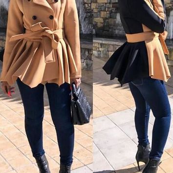 Khaki-Black Patchwork Belt Pleated Peplum Double Breasted Turndown Collar Casual Wool Coat
