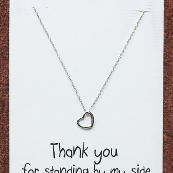 Love Couple Gift Fashion Valentine Woman Teen Thank You Note Girl Silver Toned Alloy Personal Card Heart Pendant Necklace