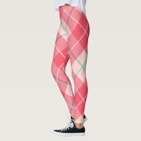 Cherry Blossom Pink Plaid Pattern Leggings