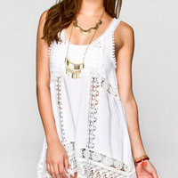 Full Tilt Crochet Inset Tank White  In Sizes