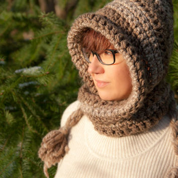 Crochet Hooded Winter Hat Scarf Chunky Pixie Hood With Ties Slouchy Hat Pointed Hood For Teens And Women Cute Hats by Mila