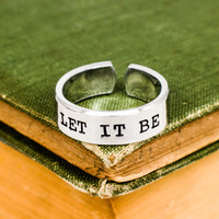 Let It Be Cuff Ring - Radiating Heart -  Adjustable Aluminum Ring