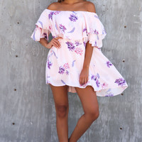 Basia Off The Shoulder Floral Dress- Blush