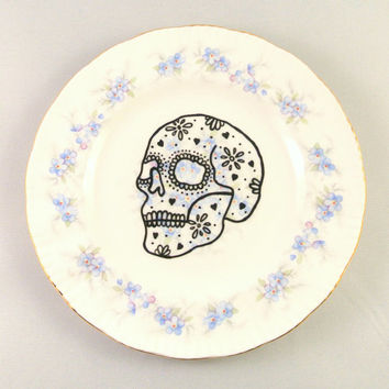 Anatomical Sugar Skull Decorated Vintage Side Plate Blue Floral Forget me Nots Retro Ornamental Saucer Hand Drawn Goth Hipster Wall Display