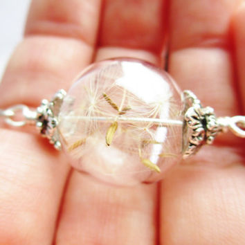 Dandelion Seed Glass Orb Terrarium Necklace, Small Orb In Silver