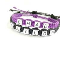 Name Bracelets, Coluples Bracelets, Personalized Jewelry, Adjustable Hemp Bracelets, FREE US SHIPPING