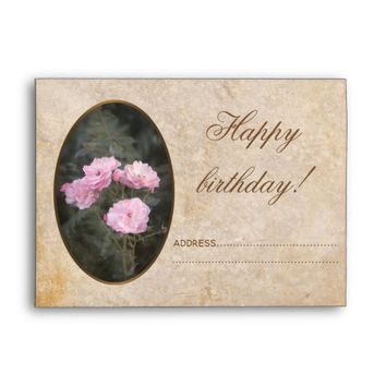 Vintage design. Photo of pink roses. Add your text Envelope