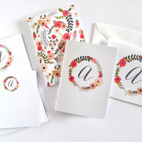 Personalized Stationery Set | Floral Monogrammed Stationery Gift Set: Blooming Wreath Collection