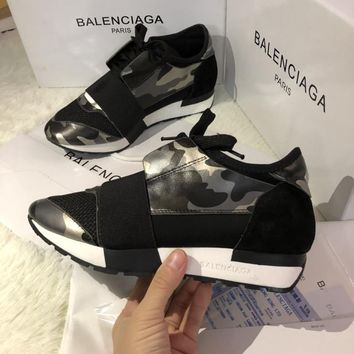 Balenciaga Women & Men 2019 Fashion camouflage RACE Running Shoes Casual Sneakers Sport Best Quality