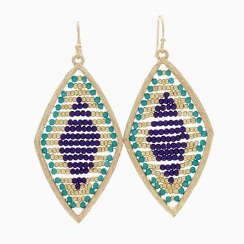 Navy Aqua Gold Beaded Diamond Shaped Drop Earring