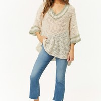 Open-Knit Striped-Trim Sweater