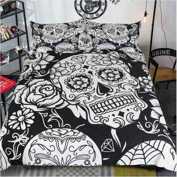 Gothic skull flower diamonds bedding set Quilt duvet Cover+2 pillow case for twin full queen king