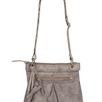 Washed crossbody bag with front pocket