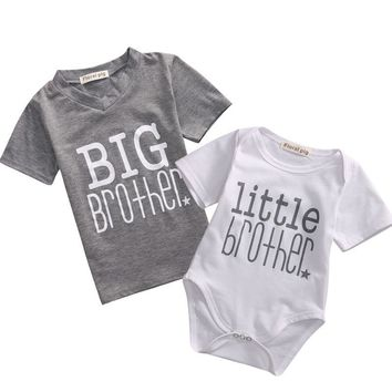Summer Newborn Baby Boys Romper Bodysuit Big Brother T-shirt Tops Outfits Family Matching Outfits