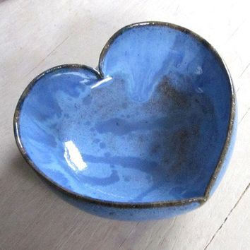 blue heart bowl 4 1/2 inches by JDWolfePottery on Etsy