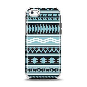 The Vector Blue & Black Aztec Pattern V2 Apple iPhone 5c Otterbox Symmetry Case Skin Set