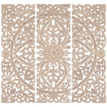 Floral Hand Carved Wooden Wall Plaque, Set of three, Antique White By Benzara