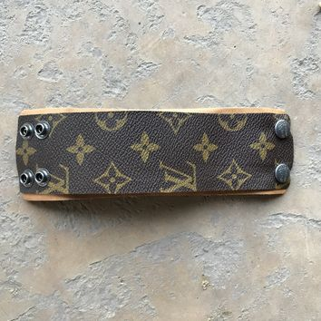 Large Width Cuff Bracelet Made From Upcycled Louis Vuitton/LV Monogram