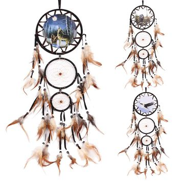 Dream Catcher with feather wolf Handmade Wall Hanging Decoration Ornament Car Home Hanging Hoops Craft Dreamcatcher