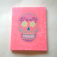 Sugar skull - pink - fashionable acrylic canvas painting for trendy girls room or home decor