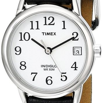 ICIKLG7 Timex Women's Indiglo Easy Reader Quartz Analog Leather Strap Watch with Date Feature