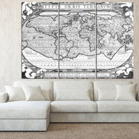 black and white world map wall art on canvas print, Large wall Art, vintage World Map wall art, extra large wall art canvas t514